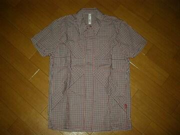 グラムglambギンガムチェックシャツ2赤系クロス柄半袖英国