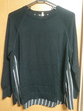 INDIVI昨季美品黒ウールシャツ重ね着風ニットセーター大きいサイズ4213号15号