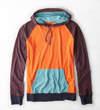 【American Eagle】AEOカラーブロックフーディーTシャツ M/バーシティーオレンジ