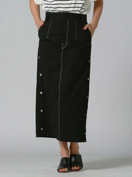 リップスター 配色ステッチサイドボタン スカートロングスカート 黒ブラック