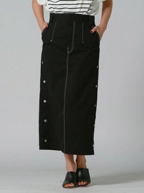リップスター 配色ステッチサイドボタン スカートロングスカート 黒ブラック  < ブランドの