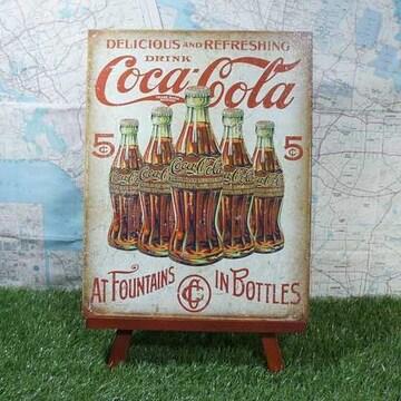 新品【ブリキ看板】コカ・コーラ at Fountains in Bottles