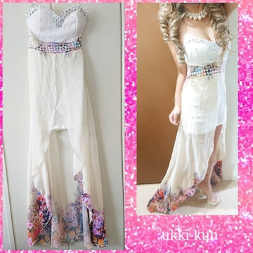 000052 前ミニ後ろロング ビジュー付 ベアトップ裾花柄ドレス