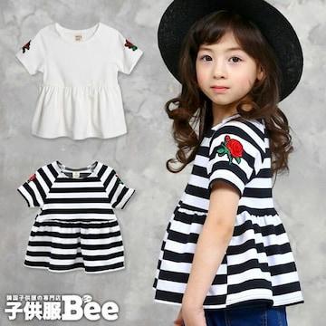韓国子供服#ペプラムトップス#半袖Tシャツ#刺繍#シンプル#120cm#