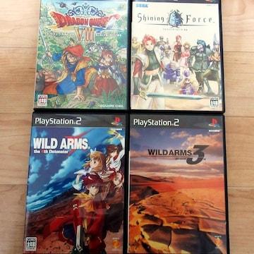 PS2 長く遊べる有名RPG4本「ワイルドアームズ3/4/ドラクエ」