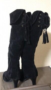 ☆大きいサイズ☆2way☆ロングブーツ☆ブラック☆25cm☆