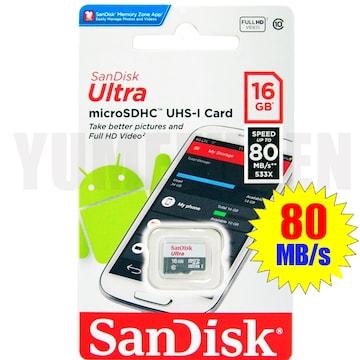 4K動画対応 驚速80MB/s CLASS10 SANDISK microSDHC 16GB マイクロSD
