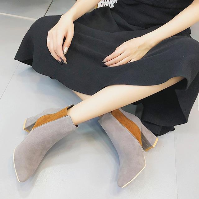 バイカラー ブーツ ショートブーツ ブーティー 靴 太ヒール < 女性ファッションの