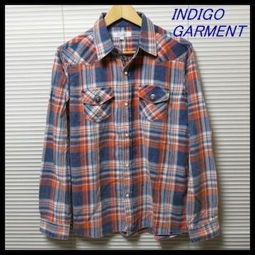 インディゴ染めチェックウエスタンシャツ/OR×IND/LL