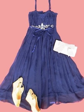 rebeccataylorネイビーシルクリボンワンピドレス花結婚式