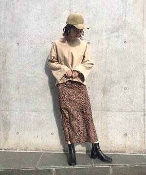 Kastane☆レオパードマーメイドスカート ブラウンF