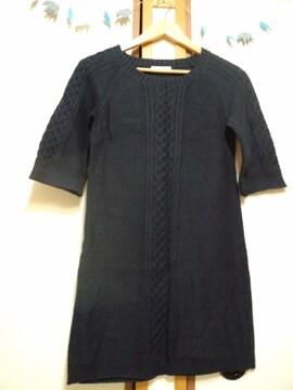 テチチ ニットワンピース 6部袖紺