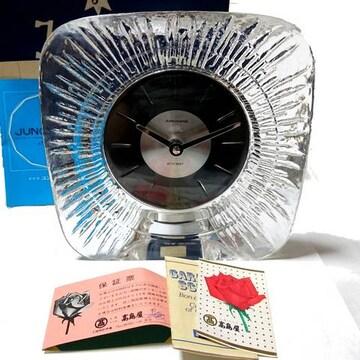 美品【箱・保証書付】ユンハンス クリスタル ドイツ製置時計