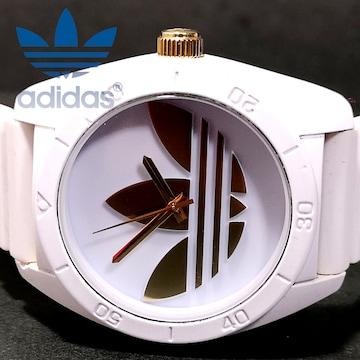美品 1スタ★Adidas アディダス White×GOLD メンズ腕時計