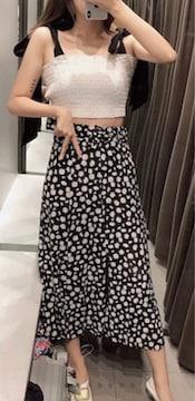 ZARAデイジーフラワー花柄ロングスカート黒ミディアムザラBB