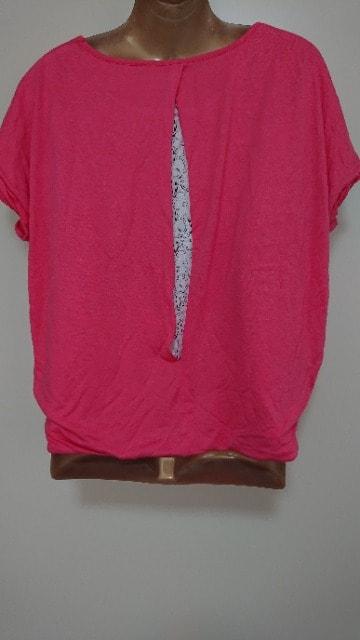 ショッキングピンクTシャツレース可愛いF < 女性ファッションの