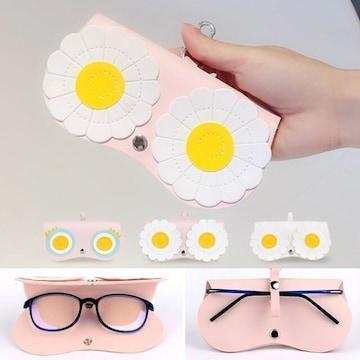 送料無料 新品【ピンク(花)】可愛い デザイン 眼鏡ケース