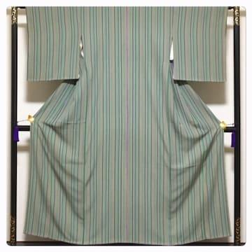 極上 逸品 縞 個性派 色使い 高級呉服 袷 小紋 正絹 中古品