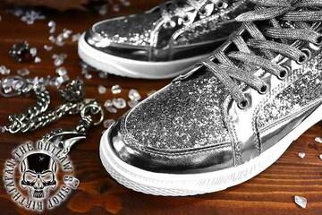 送料込 ラメ ハイカット スニーカー 靴 メンズ シューズ 厚底 オラオラ ダンス 107銀26.0