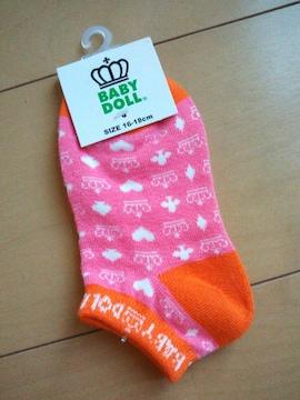 新品総柄スニーカーソックス 靴下/ピンク16〜18�pベビドBABYDOLLベビードール