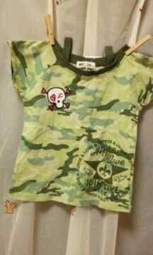 新品◆迷彩&ドクロ◆半袖Tシャツ120ギャル
