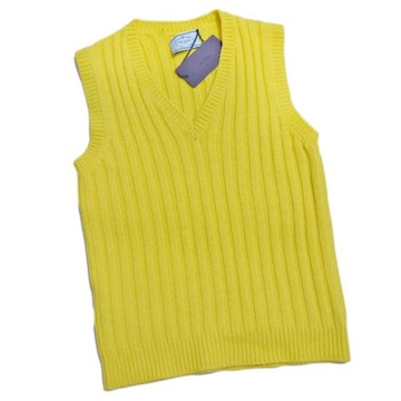 新品プラダPRADAカシミア100% Vネックベスト 黄色 #38