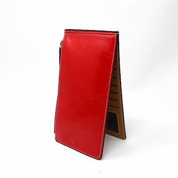 薄型 二つ折り 長財布 カードケース レッド //b3y