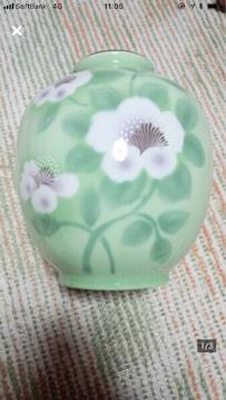 高級 日本陶器 唐津焼 若山作 翡翠色 手書き 金彩 白花花器