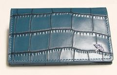 アーノルドパーマー カード/名刺入れ 牛革クロコ型押し AP-C174 ブルー