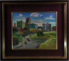 絵画 油彩 須賀卯夫『セントラルパーク』真作保証
