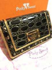 新品 ピンキースウィート/Pinkyレザー中型二つ折り財布黒