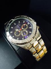 重厚感ある★Black Oceans★銀青ステンレス腕時計メンズ