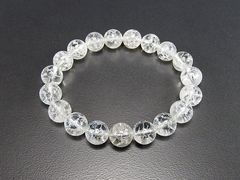 【開運】天然石3Aホワイトクラック水晶約10ミリ数珠ブレス