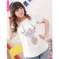 大きいサイズ両袖花柄ぽちゃかわいいプリントTシャツ3L/50663