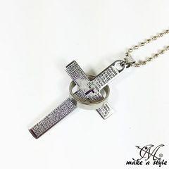クロス&リング ネックレス シルバー 十字架 ボールチェーン501銀