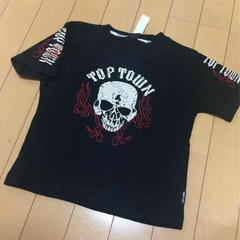 新品◆激渋!前後ドクロ&炎刺繍◆半袖Tシャツ◆120龍プリント