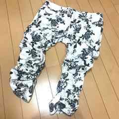 薔薇ローズ柄◆裾クシュクシュ七分丈パンツ◆W67