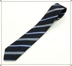 ★ジャガード織り★シルクネクタイ (紺系ストライプ)