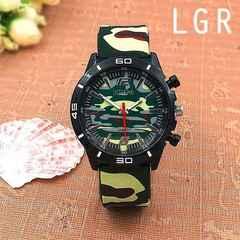 ★迷彩柄ラバーベルトのミリタリーメンズウォッチ メンズ腕時計G