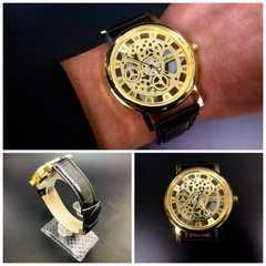 腕時計 ギリシャ文字  機械型 金フレームレザー 革ベルト 黒