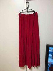 ZARA赤ロングスカート