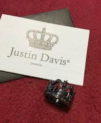 新品◆JUSTIN DAVIS◆CHAPEL CROWN BLACK RING◆13号◆クロム