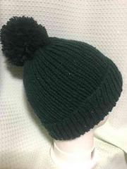 手編み ニット帽 ビリジアングリーン