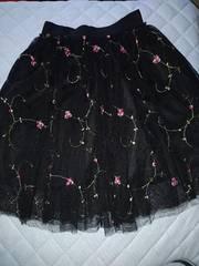 レトロガール 花柄刺繍 チュールスカート 黒 新品