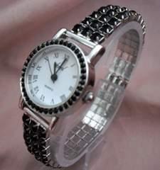 ラインストーンストレッチ腕時計BK−ウォッチ
