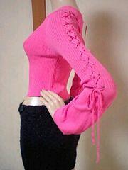 激カワッ(*´艸`)袖編み上げリブニットトップス。°ローギャルB系