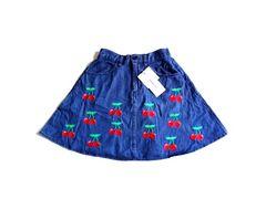 新品 BROWNY ブラウニー 刺繍 デニム フレア ミニ スカート