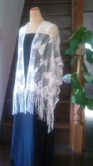 花簪 長いフリンジが優雅なレースのショール・蝶々/和装洋装