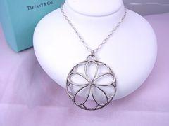 Tiffany シルバー ペタル メダリオン ダイヤモンド ペンダント 新品同様★dot