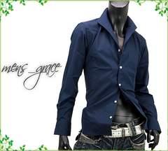 新品 イタリアンカラー 長袖ドレスシャツ 日本製 ネイビー M
